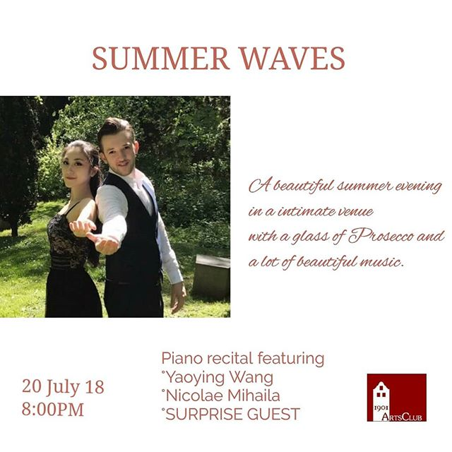 SUMMER WAVES - a beautiful summer evening😎 in a intimate venue, a glass of Prosecco 🥂 and a lot of beautiful music 🎵- click on the profile link for more details  https://www.facebook.com/events/182346999255792/?ti=as  #concert #London #recital #pianist #prosecco #summerwaves #summer #summerlondon #art #artclub #1901artsclub @yaoyingwangggg @nicolaemihailapianist @1901artsclub