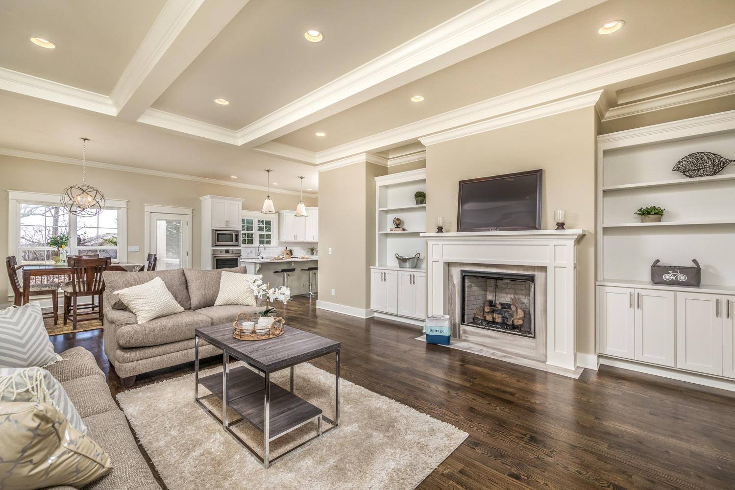 living room - Touch up paint, clear shelving and mantel, allow natural light to enter the room