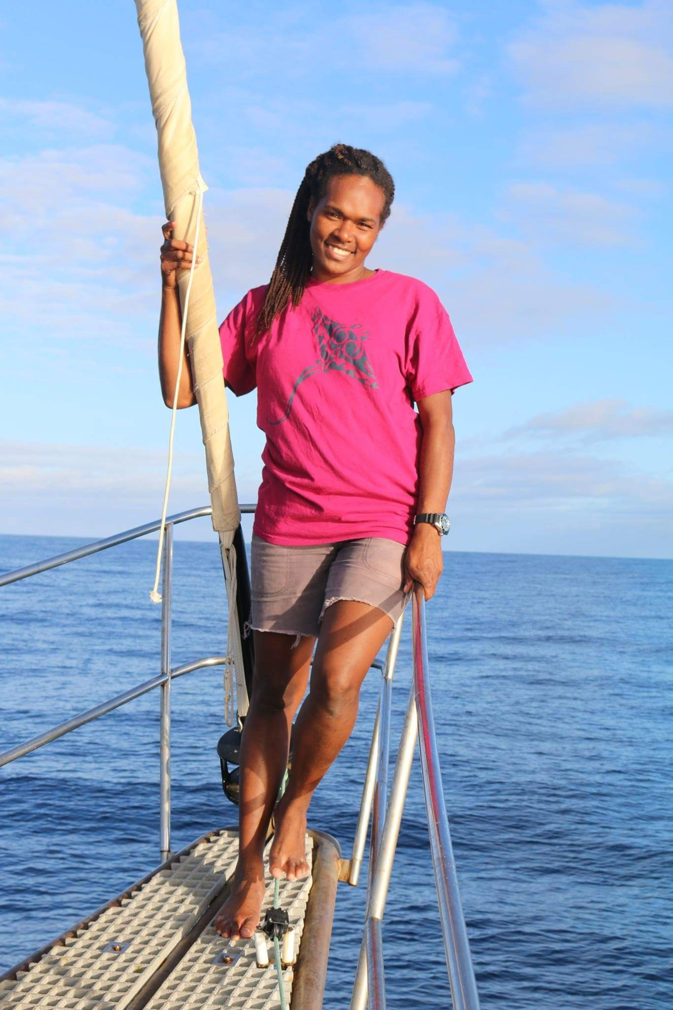 RISU KALOTITI - Guide and Yacht Agent - Risu is an integral part of Port of Call Vanuatu and we are very lucky to have her as part of our team.Risu has experience working on a range of projects on board the Rainbow Warrior with Greenpeace and smaller charities such as Island Reach and OceansWatch delivering marine conservation and sustainable livelihood projects in Vanuatu.After seeing the destruction caused by cyclone Pam in 2015 she has set up a coral garden in her village of Pango near Port Vila, Vanuatu and engages with local children to help restore the reefs.She is also a surf coach for Solwota Sista, a branch of The Vanuatu Surfing Association, and encourages and empowers female surfers to get in the water and realise their potential.Risu is passionate about marine conservation and has had the opportunity to travel by boat to many corners of the Vanuatu ArchipelagoWe at Port of Call Vanuatu highly recommend Risu Kalotiti as your Vanuatu guide. Risu is fountain of local knowledge, this combined with her joyful and friendly personality will help to guarantee your time in Vanuatu will be an interesting and very memorable one.