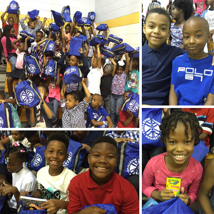 300 back packs of school supplies were delivered to 3rd and 5th graders at Fairfield Court and Chimborazo Elementary Schools!