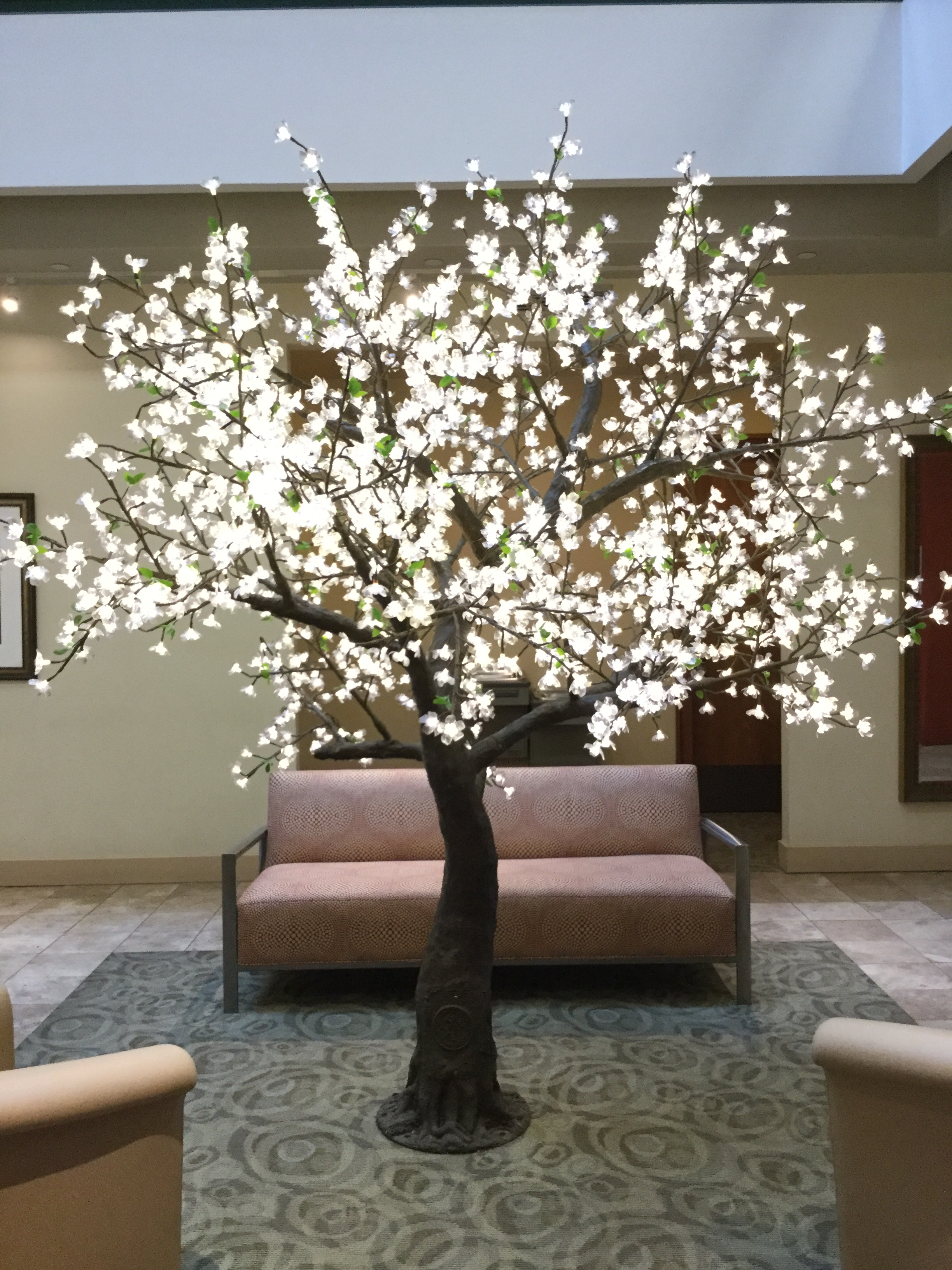 9ft Flatiron   Flatiron trees fill any space. These are great focal points at events and can be placed anywhere in the venue. They are fitting for both inside and out use and can be dimmed with a dimmer switch if desired.    The Tree Is 12feet Tall And 12feet In Diameter. It Has 1632 LEDs On 34 Branches, and 90 Watts.  Colors Available For Hire:   Warm White, Pure White, Red, Blue, Green, Yellow, Purple, light blue And Multi Color.            $495 per Tree