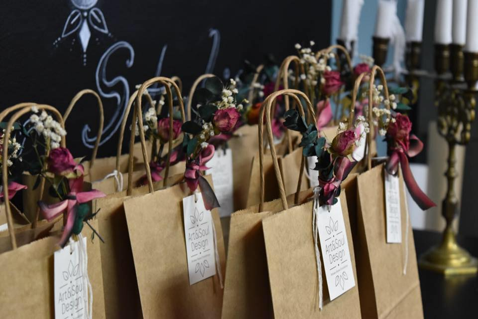 Gift Wrapped Goodie Bags for a Private Event. Nature Bundles and Vintage Ribbon