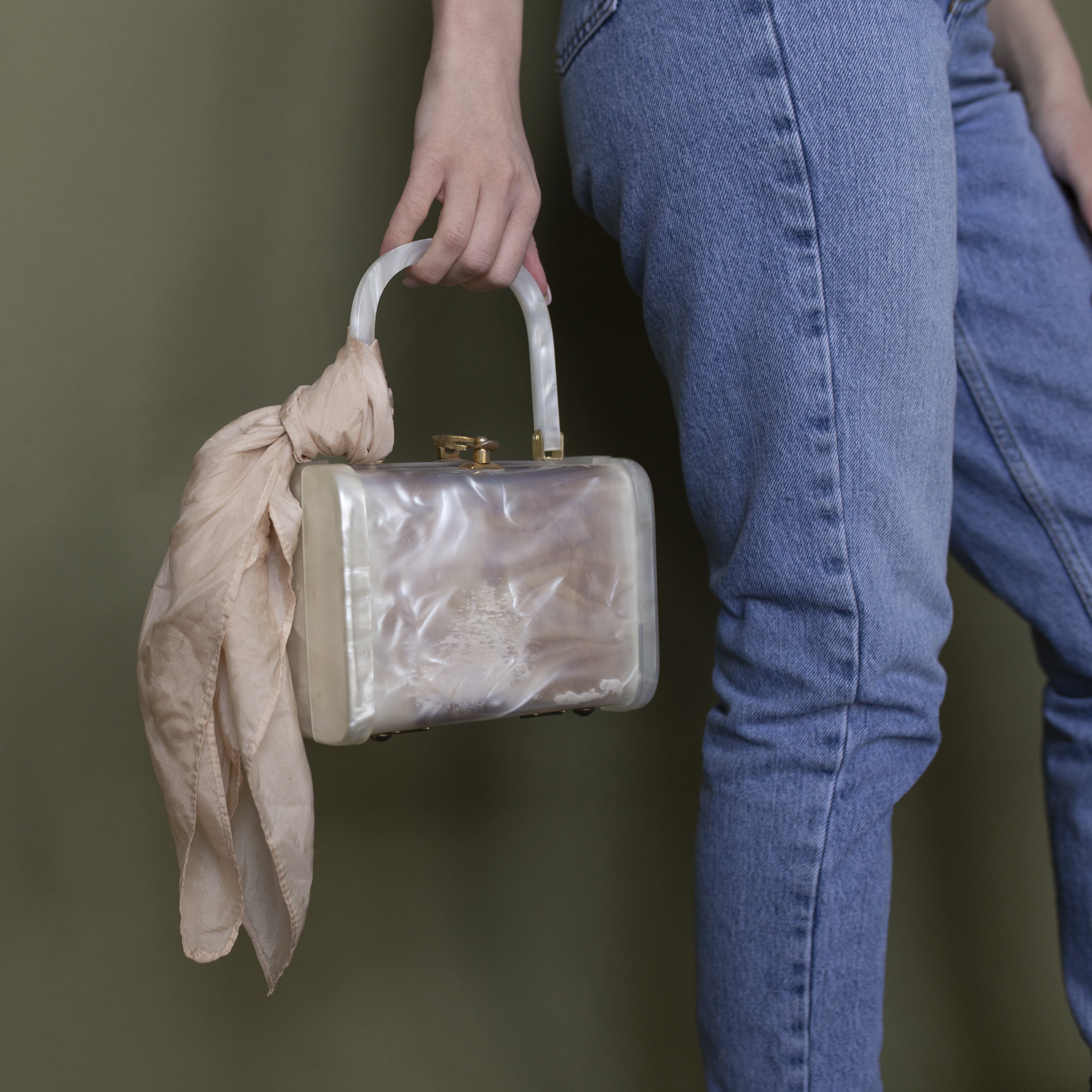 """Lana gracefully showing off this Vintage Lucite Bag and Avocado Dyed 16x16"""" scarf"""