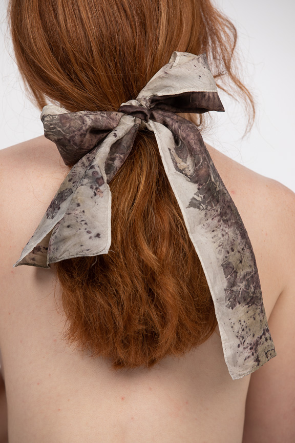 "8x54"" habotai silk scarf ""At Dusk"" pops with Madeleine's red hair"