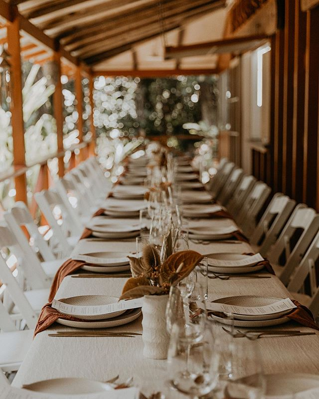 Felicity + Nelson 〰️ 18.09.2019  Last Wednesday two of my precious friends got married in Kuranda, amongst the beautiful rainforest at @felicity_reinalda Mothers house with 25 of their nearest & dearest. They then vowed their love again on Saturday with family & friends up in Ravenshoe on @nelsonreinalda parents picturesque property 〰️These two are such a fun-loving & relaxed pair who love nothing more than a good time & a great party & both celebrations we're just that 🥂 〰️ A sneak peek of the gorgeous details from Wednesday, designed for an intimate & relaxed celebration ✨  Photographer: @theseitterwoodhouse  Stylist + Florals + Linen: @the.collection.co  Catering: @lafettuccina Celebrant: @creatingmoments_celebrant  Menus: @imo.creative  Plates + Cutlery Hire: @perfectmomentscairns . . . . . #realweddings #cairnsweddings #cairns #cairnsstylist #wedding #qldbride #longlunch #cairnsflorist #cairnswedding #styledbyme #cairnsweddingplanner #styling #weddingdecor #bohemian #heyheyhellomay #queenslandbride #exploretnq #tablescape #tablestyling #cairnsaustralia #bohemianbride #weddingstyling #stylist #elopement #elopementwedding