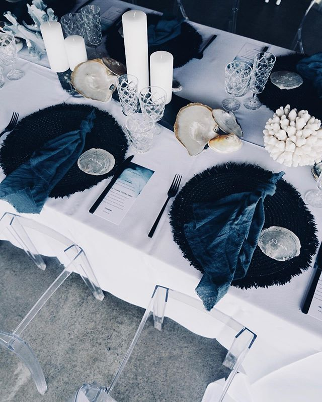 Moody oceanic palette, inspired by the ocean floor 🌊  Styling + Design @the.collection.co  Ghosts Chairs + Linen @eventcore.com.au  Glassware + Cutlery @northampton.events  Catering @oaks_kitchen_and_garden  #cairnsstylist #tablescapes #cairnsevents #cairnsstylists #design #costal #shells #tablesetting #tabledecoration #partyplanner #eventstyle #coral #oceanic #events #moody #qldbride #cairnswedding #cairnsweddings #styledbyme #heyheyhellomay #realbrides #tablestyling #bridemagazine #qldwedding #weddinghire #exploretnq #bridesupnorth #elopement #elopmentwedding #eventdecor