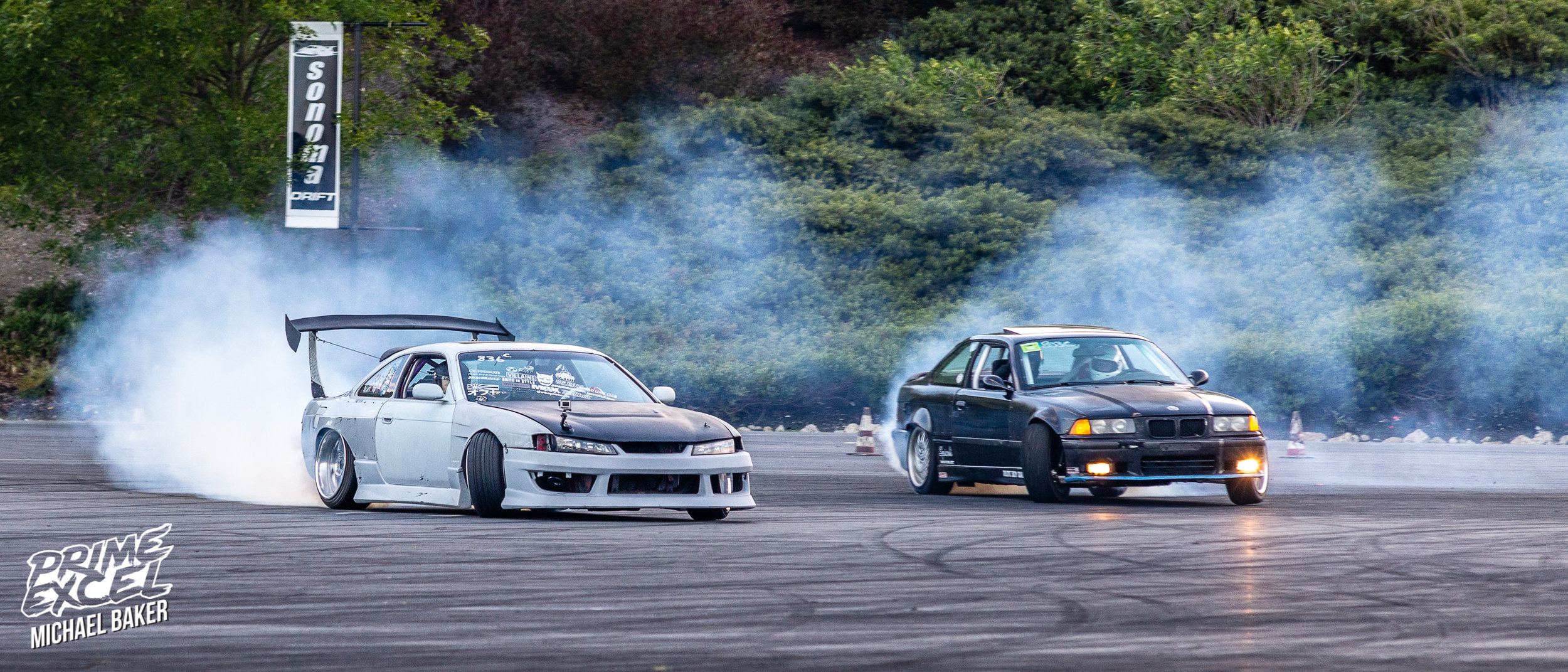 These two drivers in particular absolutely killed it. The S14 is aided in it's tire thrashing glory by a 2JZ, and the E36 has an S52.