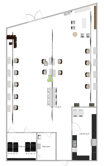 A loose rendition of the new salon floor plan.