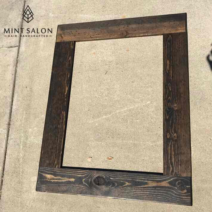 Wood trim for mirrors.