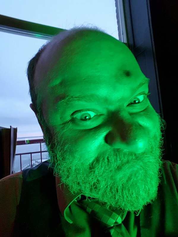 One scene featured intense green lights, so David Aldridge (Nathaniel Johnson) decided to get his evil on.