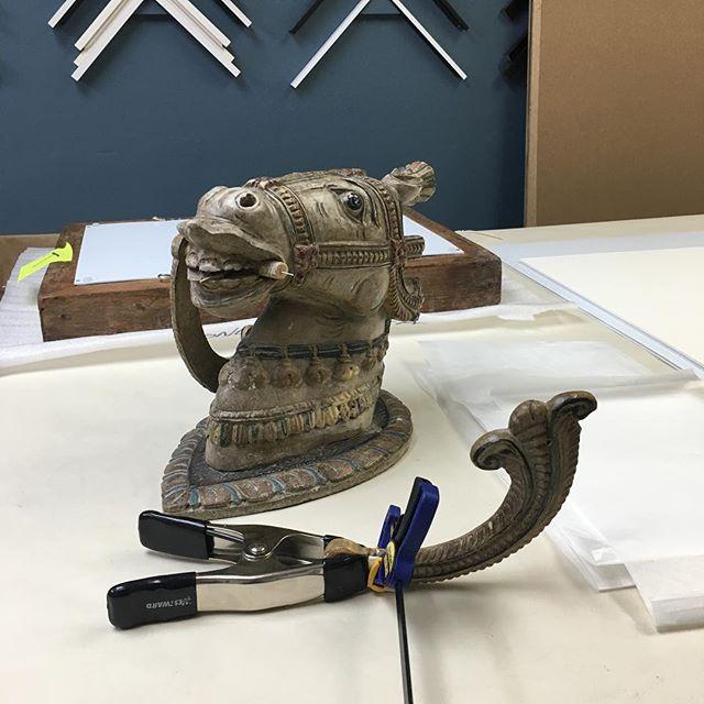 Horsing around. Get it? 😂#fineart #restoration #horse #statue