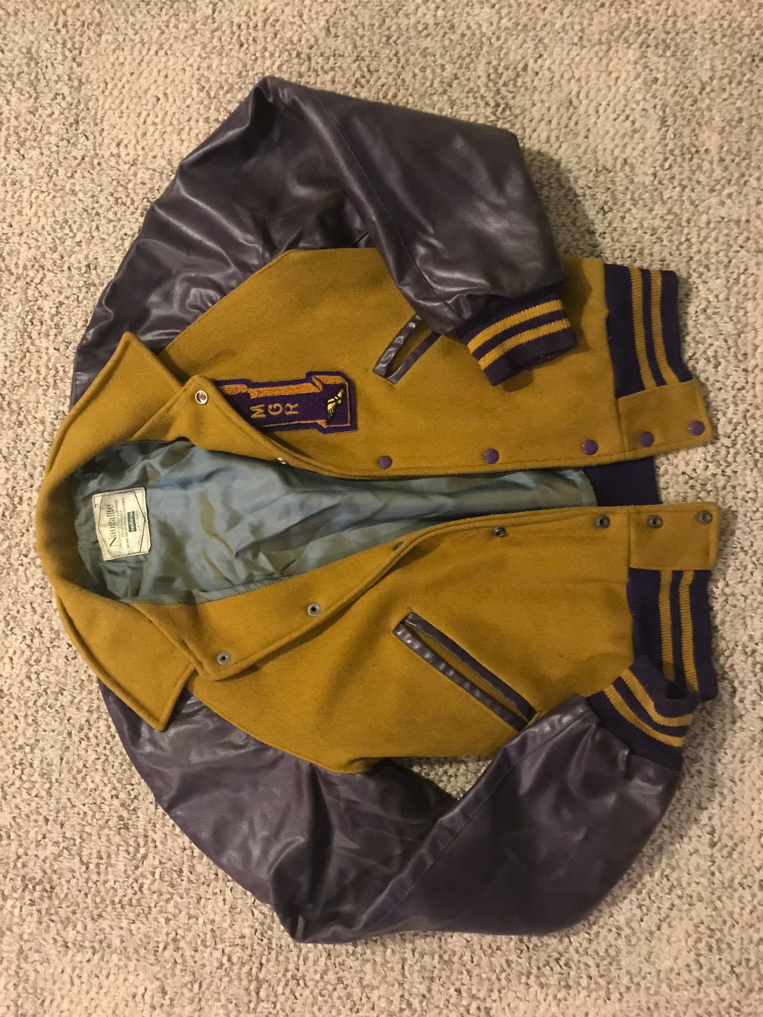 $15 vintage Purple and gold letterman jacket - GREAT CONDITION! (featured in Dawin's