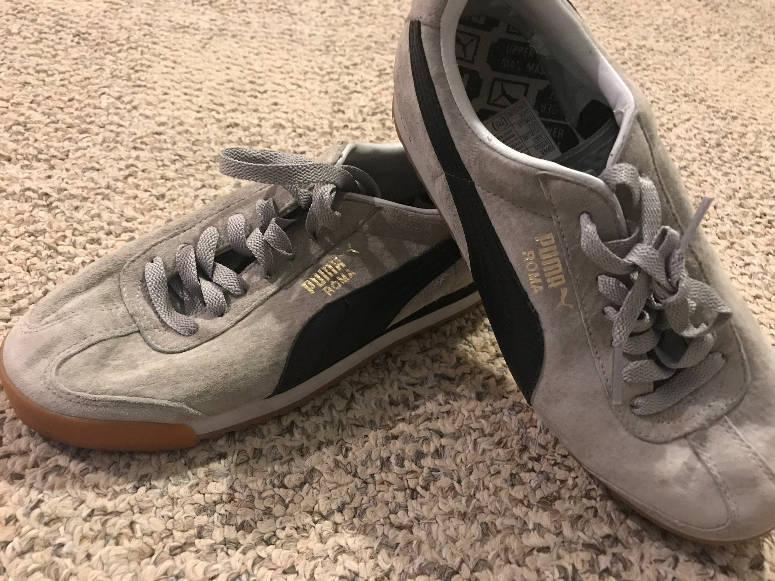 $20 LIKE NEW Puma Roma Grey/Black Suede  - size 5.5 worn twiceRETAIL: $45