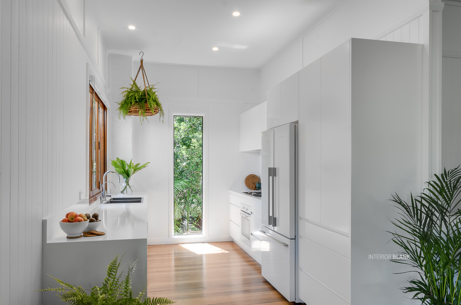 Kitchen renovations Bangalow_White satin 2pac cabinets_fingerpull handles_Quantum Quartz Stone benchtops_VJ wall Panelling_white kitchens