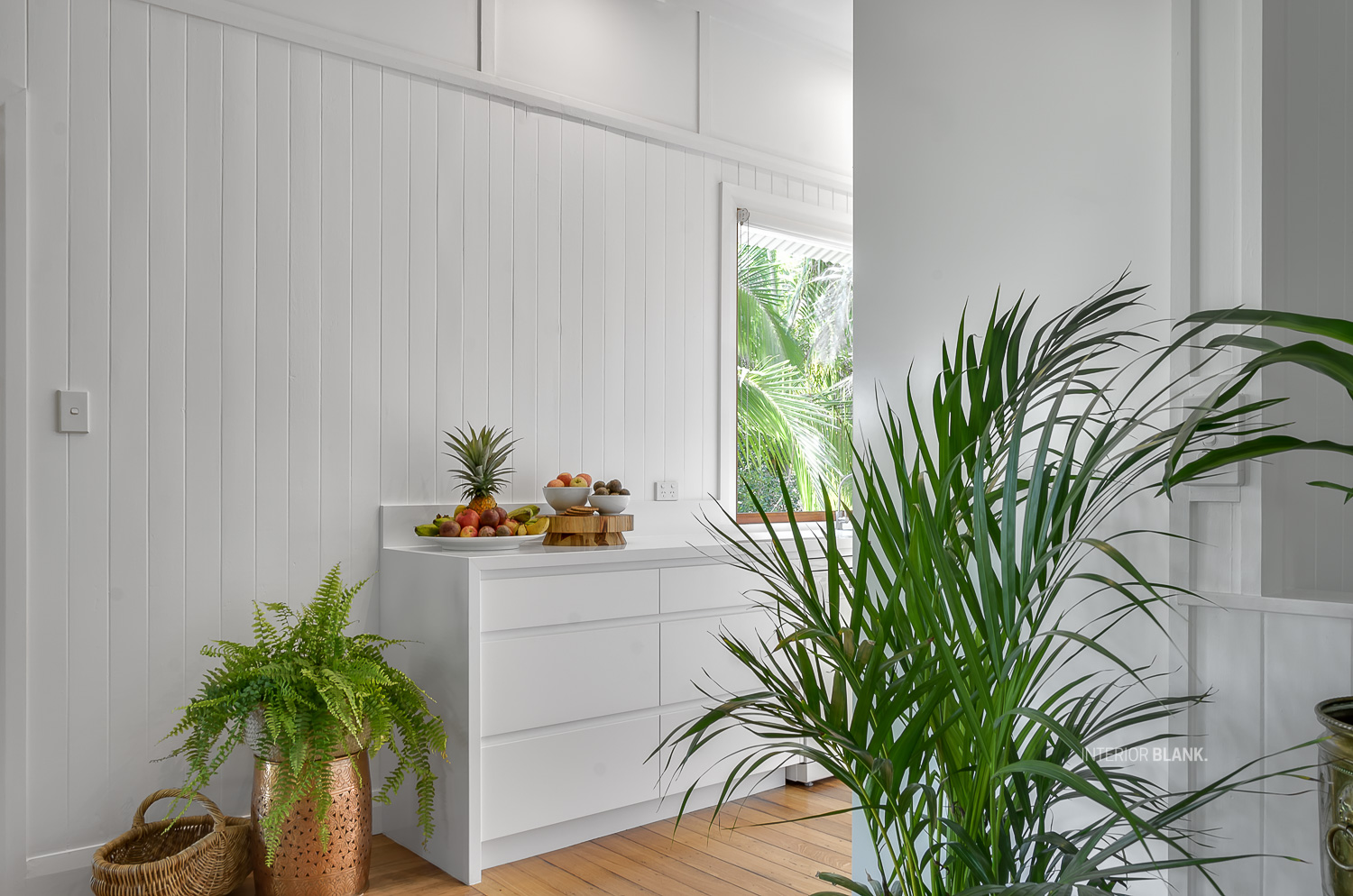 Kitchen renovations Bangalow_White satin 2pac cabinets_fingerpull handles_Quantum Quartz Stone benchtops_VJ wall Panelling_white kitchens. storage solutions