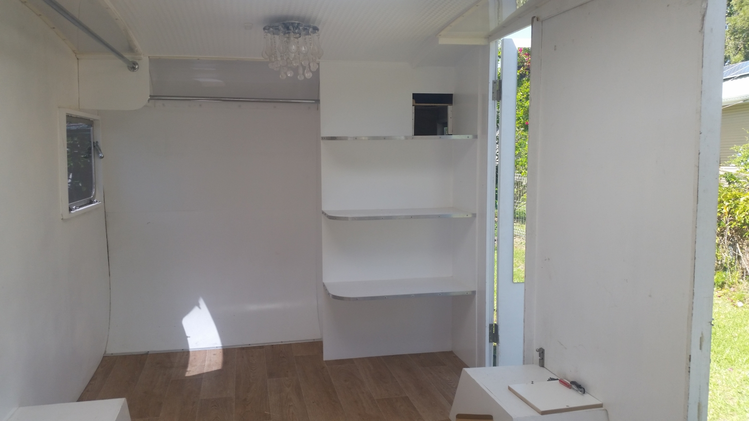 Vintage Caravan Renovation in Coolangatta, Gold Coast. The Caravan was converted into a mobile salon. See the before and after photos of this caravan reno.