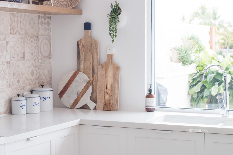 Interior Blank White and wood kitchen