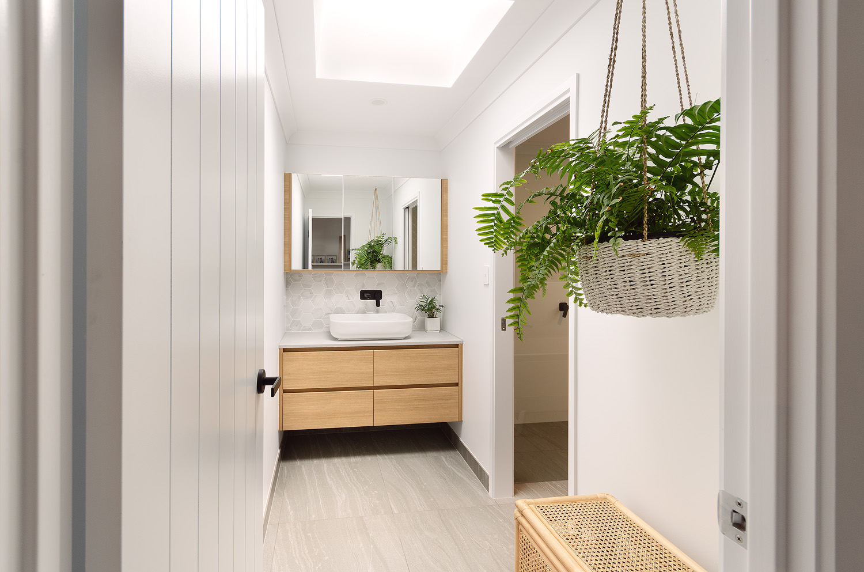White and Wood custom bathroom vanity | Interior Blank