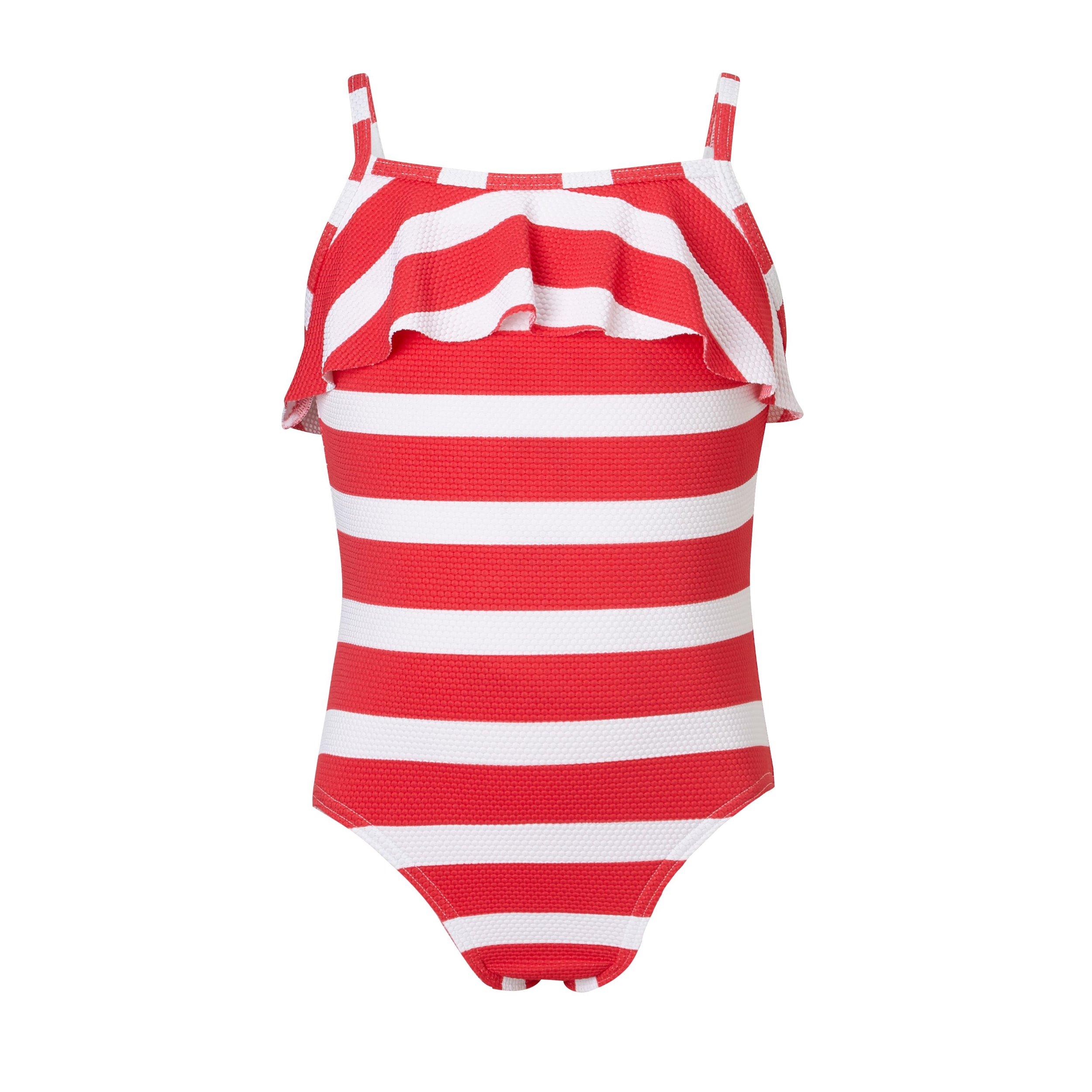 John Lewis Girls' Textured Stripe Swimsuit Red £14 £16.jpg