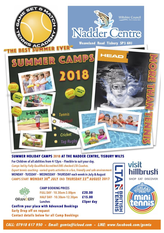 GSMTA Nadder Summer Tennis Swimming Camps