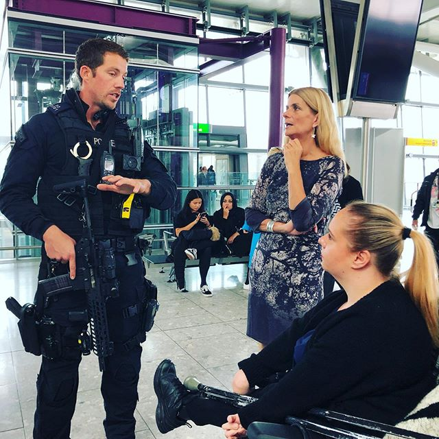 Today, our Passenger Services Group is at @heathrow_airport T5 observing the steps @metpolice_uk Officers and police dogs take to keep people safe through #ProjectServator. PSG member Haley is talking to Armed Response Officers about how they work with police dogs, land-side patrols, the public and business to deter, detect and disrupt hostile reconnaissance by terrorists and other criminals.