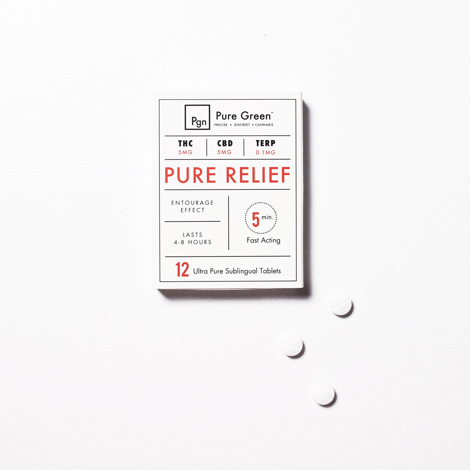Pure Relief - Ease pain and inflammation.This perfectly balanced formula with a 1:1 THC to CBD ratio, plus a curated blend of terpenes, is designed to melt away mild to moderate pain in minutes. Each Pure Relief tablet delivers a precise, fast-acting dose of all natural pain relief.Each tablet contains:5 mg THC / 5 mg CBD / 0.1 mg Curated Terpenes<< Back to Sublingual Tablets