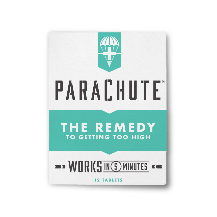The Remedy to Getting Too High. - Parachute will safely and effectively reduce your high starting in 5 minutes.Too much of a good thing can ruin a good time. That's why there's Parachute. Maybe you went one edible too far. Or maybe you need to save a friend from a bad experience. Parachute is the insurance you need.Be sure to keep a pack in your kit for the next time your high gets out of hand.Parachute will bring you down, safe and sound.