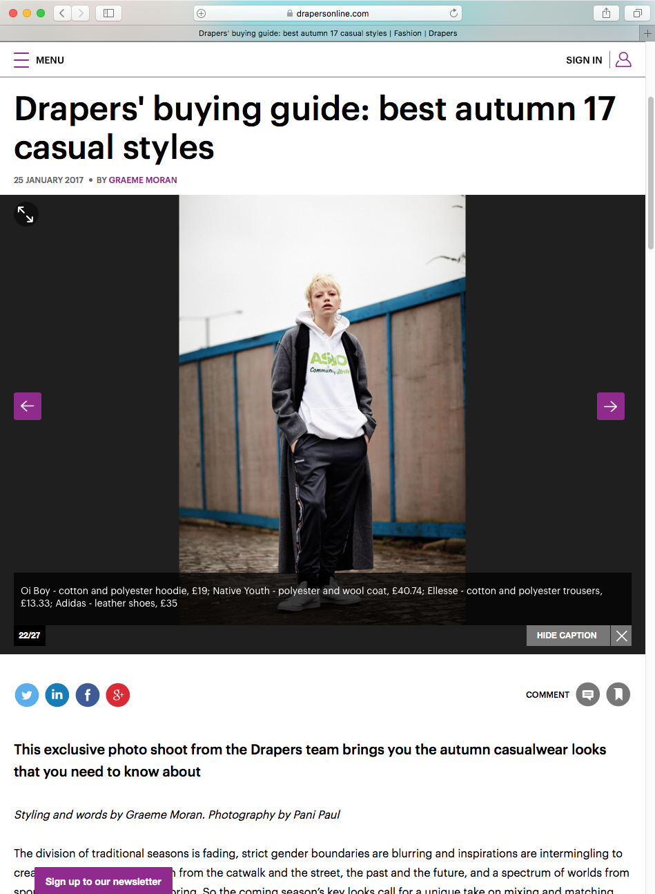 OIBOY ASBO hoodie included within the DraperS magaziNE ONLINE article ' Drapers buying guide: best autumn 17 casual style '.