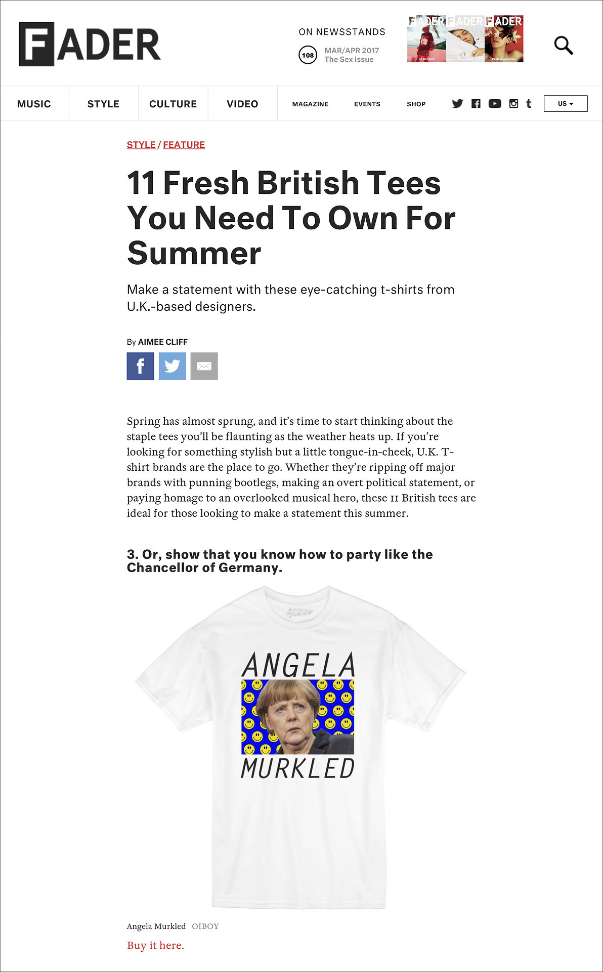 OUR OIBOY ANGELA MURKLED T-SHIRT WAS FEATURED ON THE FADER MAGAZINE'S WEBSITE IN THE ARTICLE '11 FRESH BRITISH TEES YOU NEED TO OWN FOR SUMMER'. READ IT  HERE .