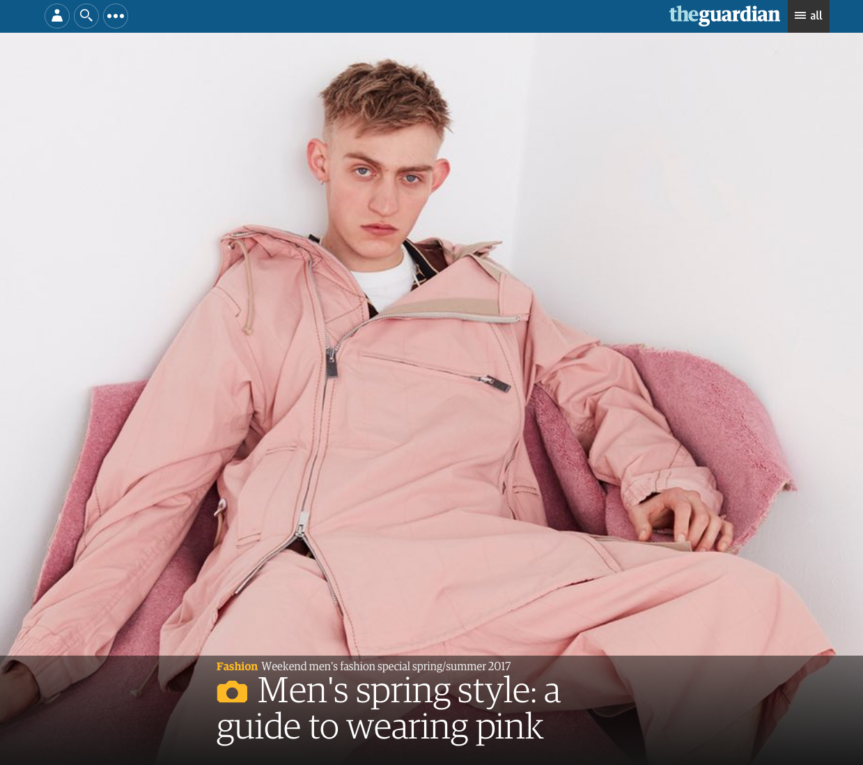 OUR DARLING TEE IS FEATURED IN GUARDIAN FASHION'S ONLINE ARTICLE: 'Men's spring style: a guide to wearing pink'  READ THE ARTICLE  HERE .