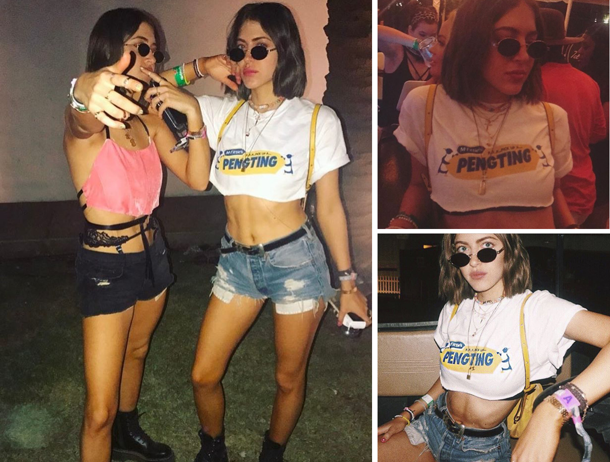 Identical twins / DJ's / Creative Directors / Models, Haze from Simi & Haze wearing our Pengting t-shirt at Coachella festival. Check out their Instagram  here .
