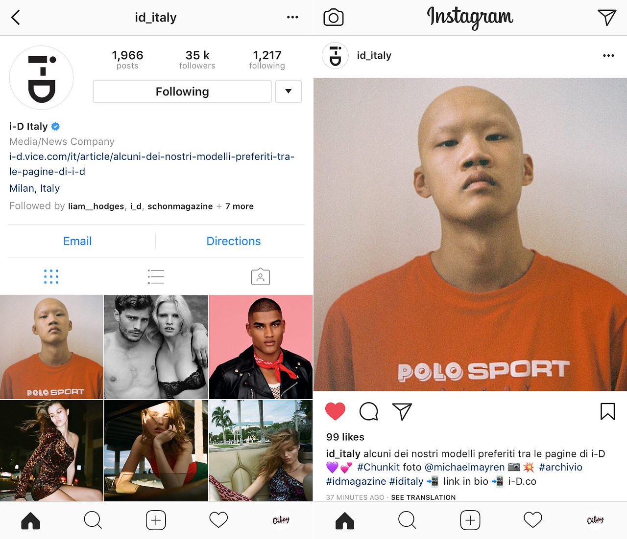 OUR NOW NON-SALE ITEM: THE OIBOY POLO (MINT) SPORT, RED LONG SLEEVED TEE IS FEATURED ON i-D MAGAZINE (ITALY) INSTAGRAM PAGE.