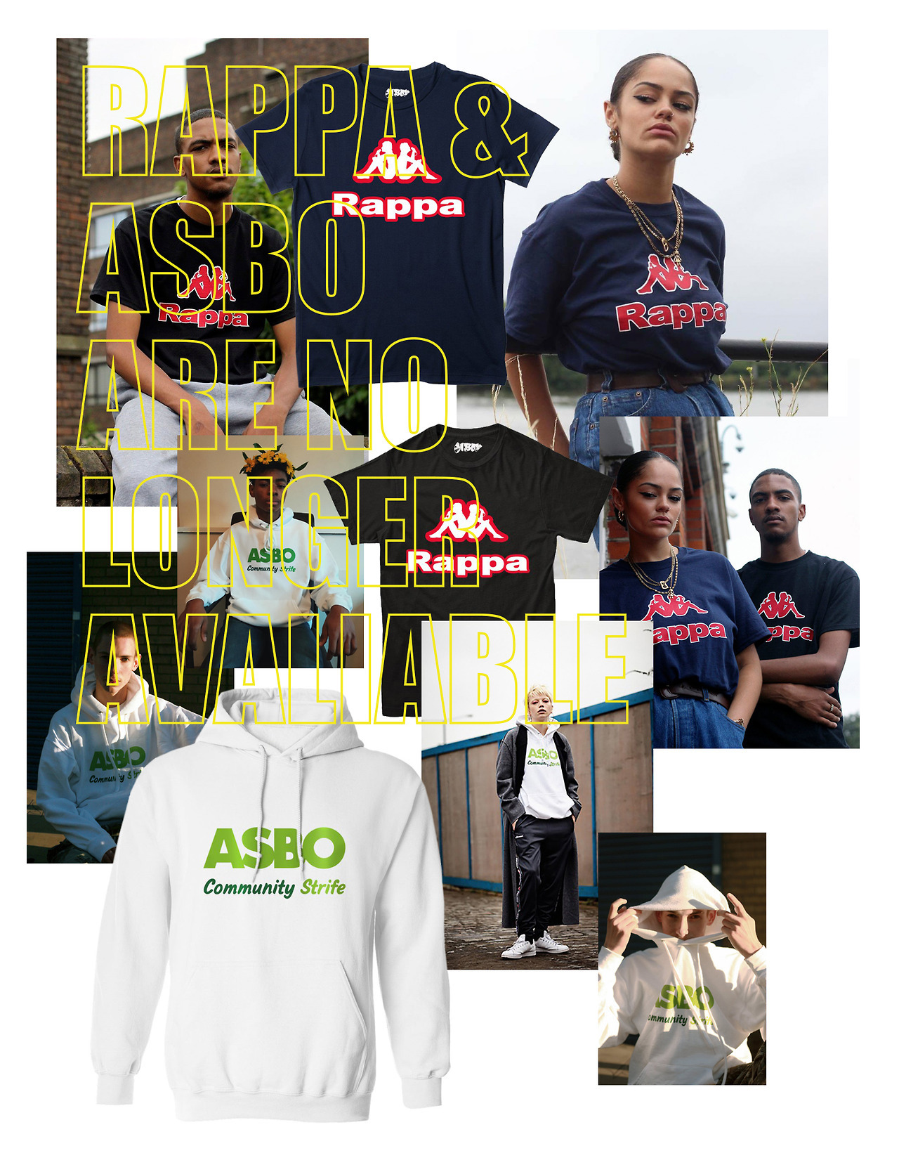 ANOTHER FEW ITEMS SENT TO THE ARCHIVES. RAPPA TEES & ASBO HOODIE HAVE NOW SOLD OUT WITH NO PLANS TO RESTOCK THEM.