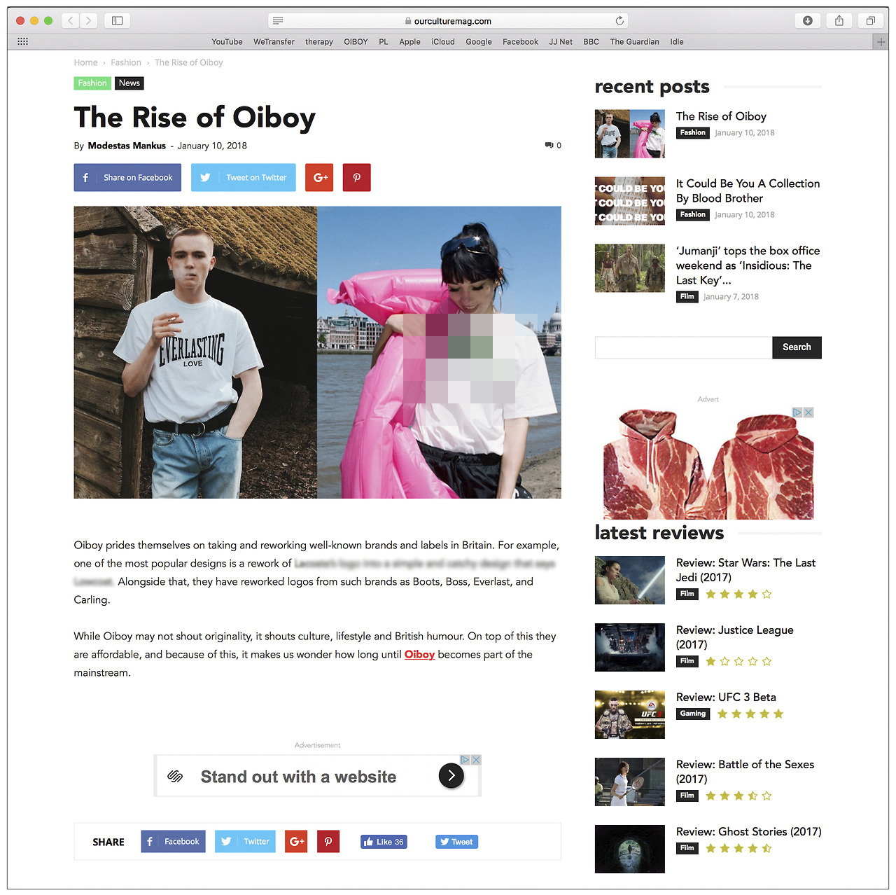 """'The Rise of OIBOY' By Modestas Mankus for OUR CULTURE MAG: """"With the world of Fashion engaging with the power of online shopping, a nifty and exciting brand Oiboy has emerged"""". Read the whole article here:   https://ourculturemag.com/2018/01/10/the-rise-of-oiboy/"""