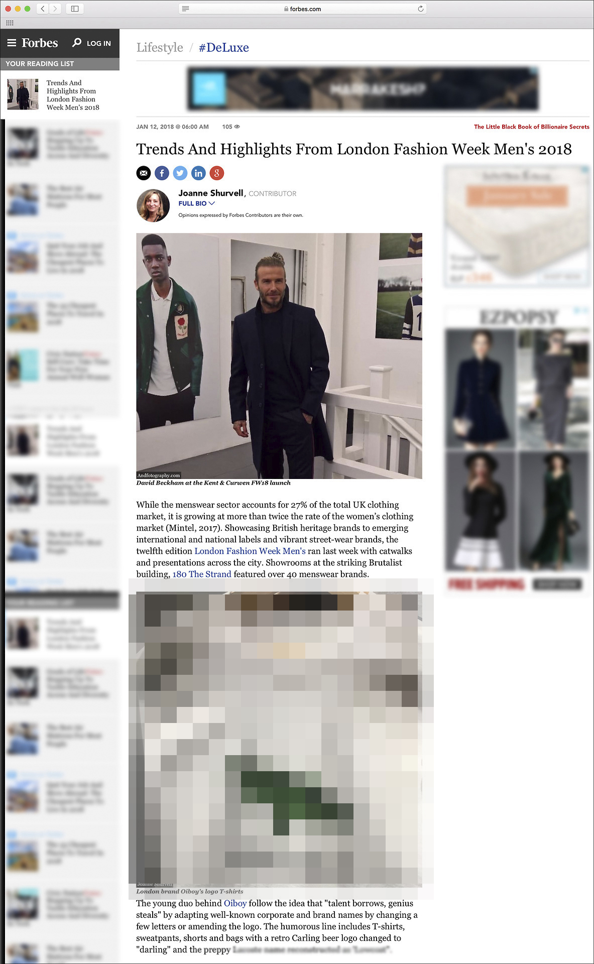 We are featured in the FORBES article: 'Trends And Highlights From London Fashion Week Men's 2018', read the article here:   https://www.forbes.com/sites/joanneshurvell/2018/01/12/trends-and-highlights-from-london-fashion-week-mens-2018/#47b86ce4342f