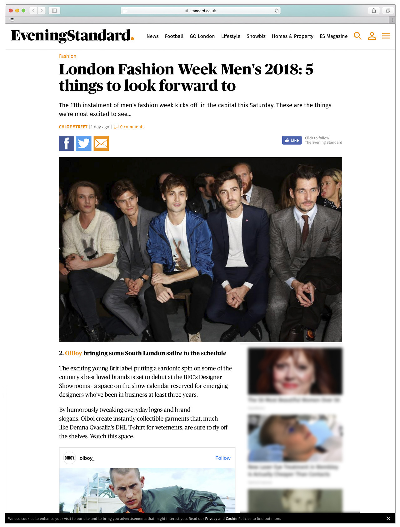 In at number 2… #LFWM #OIBOY   https://www.standard.co.uk/fashion/london-fashion-week-mens-2018-preview-what-to-expect-highlights-a3731101.html
