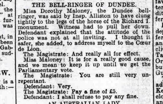 The Globe newspaper edition of the same day singled out Dorothy for her bell-ringing activities earlier that year.