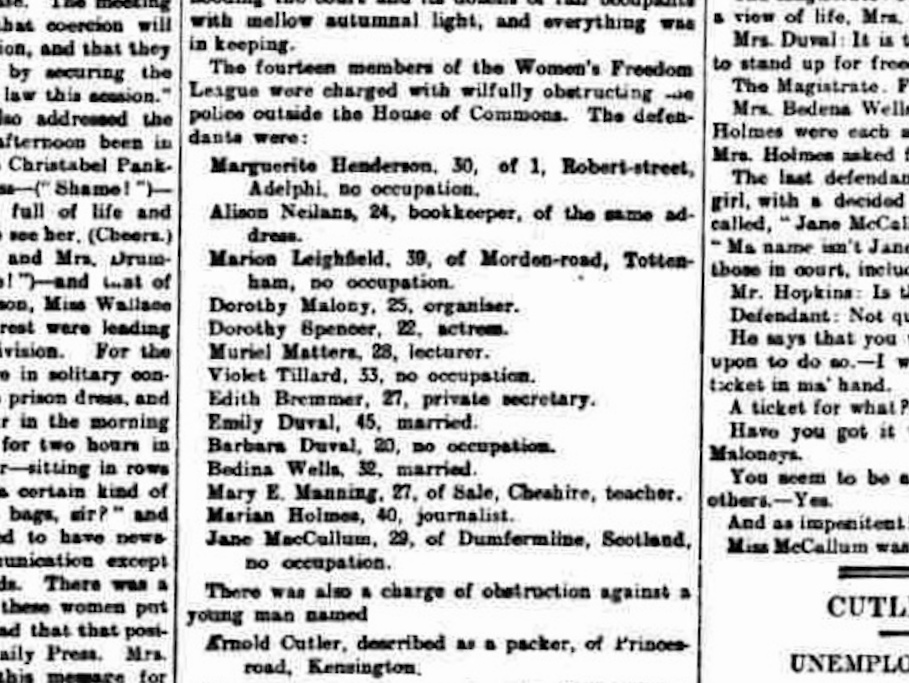 By October, Dorothy had turned 25, and her occupation elevated to 'organiser'. This clipping is from The Daily Telegraph, Friday October 30th, 1908.