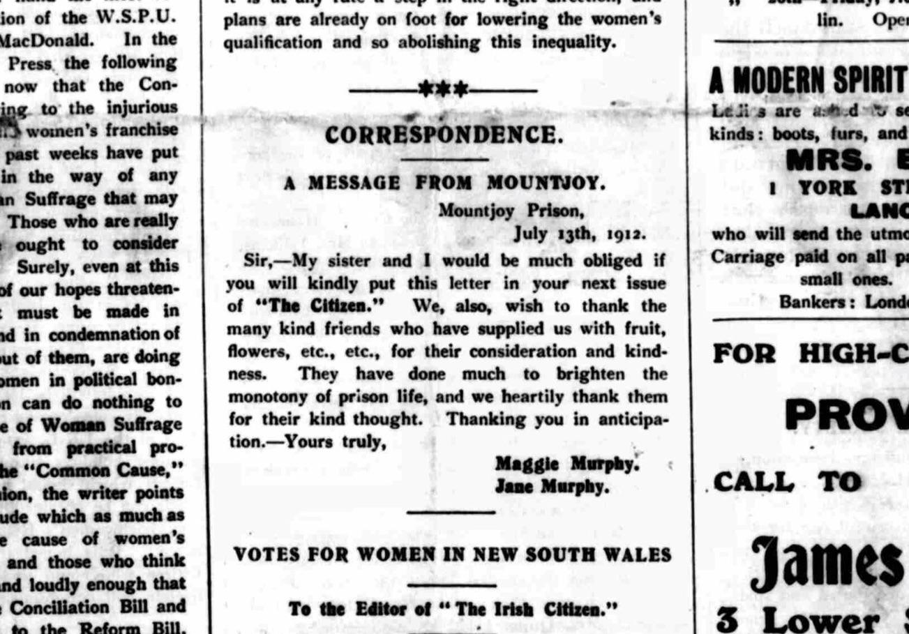 The Irish Citizen (suffrage newspaper), 20th July 1912. British Newspaper Archive.