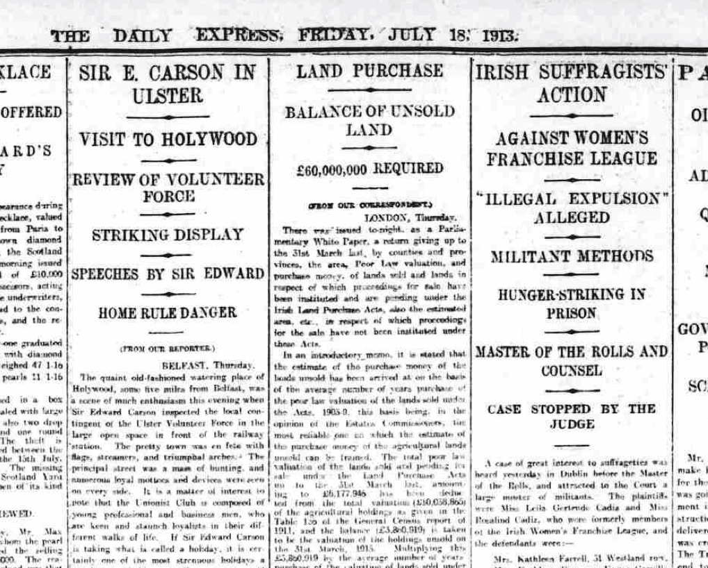 The Daily Express, 18th July 1913. British Newspaper Archive.