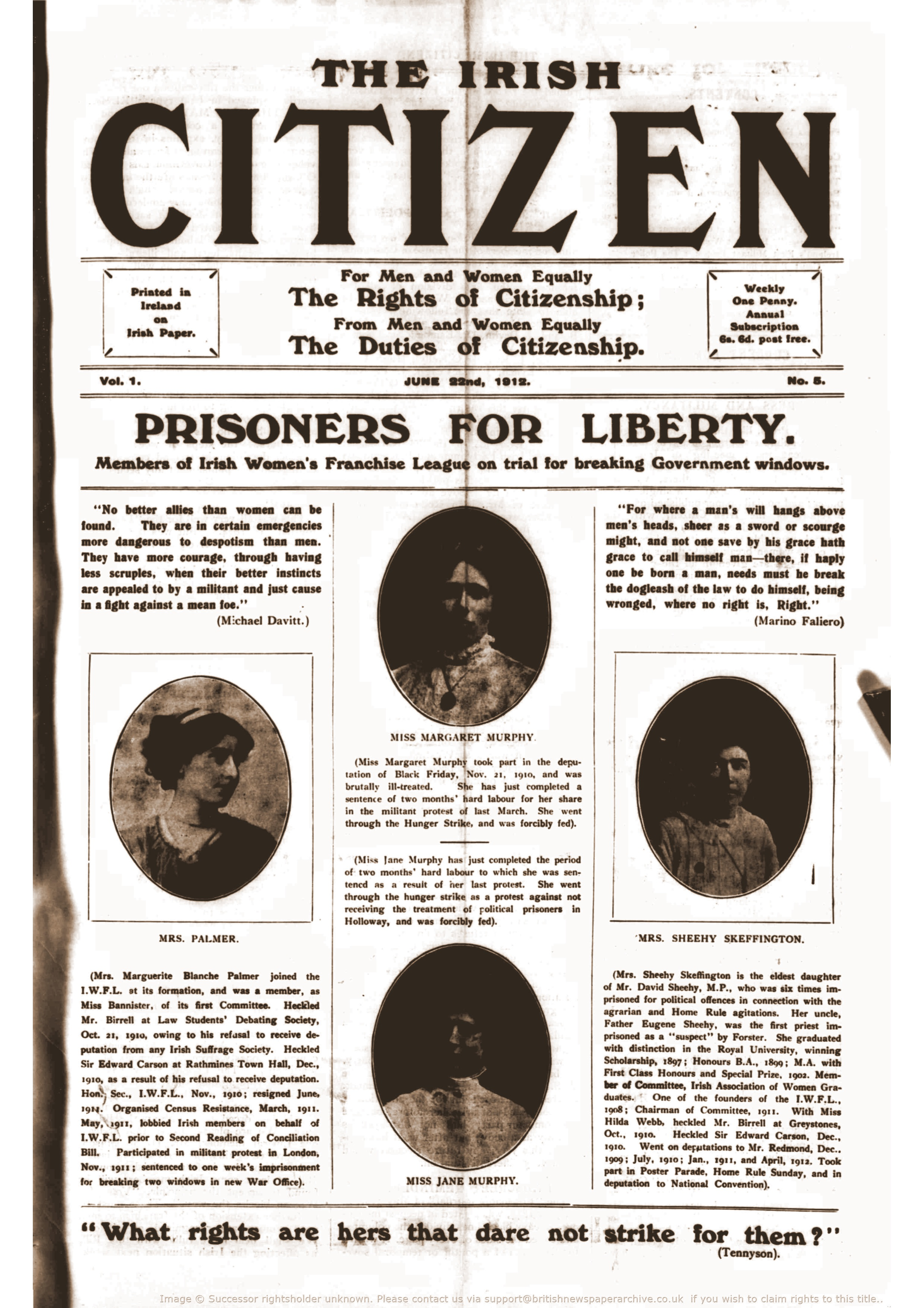 Front page of The Irish Citizen, 22 June 1912. British Newspaper Archive.