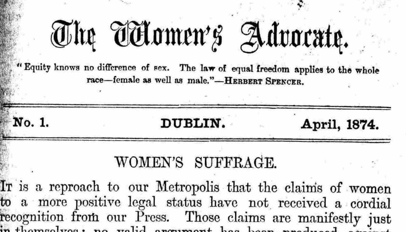 Header of The Women's Advocate.  Source .