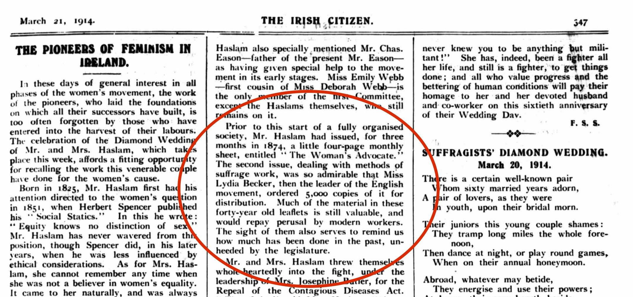 Irish Citizen Saturday 21 March 1914. Check out the fabulous poem to the right too - we are especially loving the idea of an annual honeymoon?!