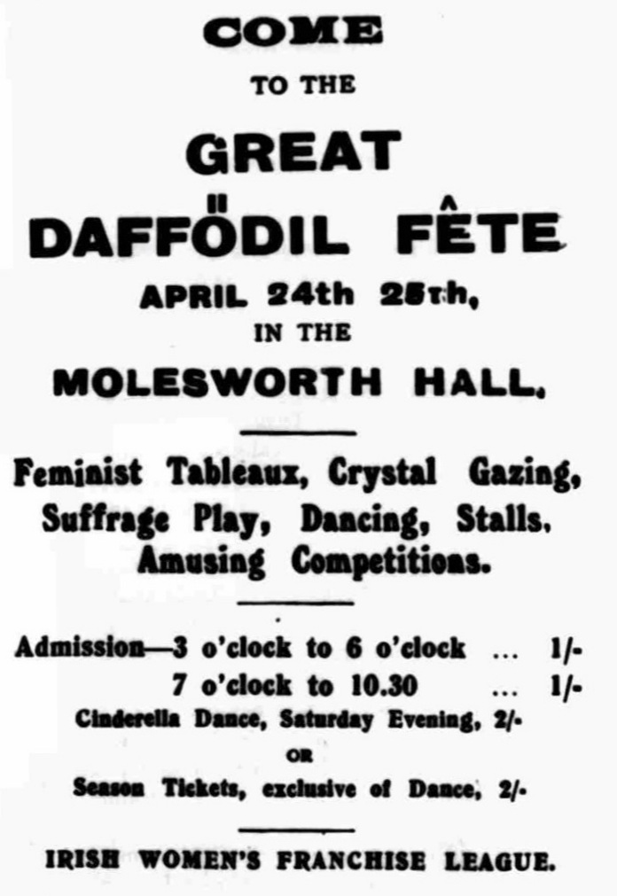 Ad for the fair in The Irish Citizen April 1914. British Newspaper Archive.