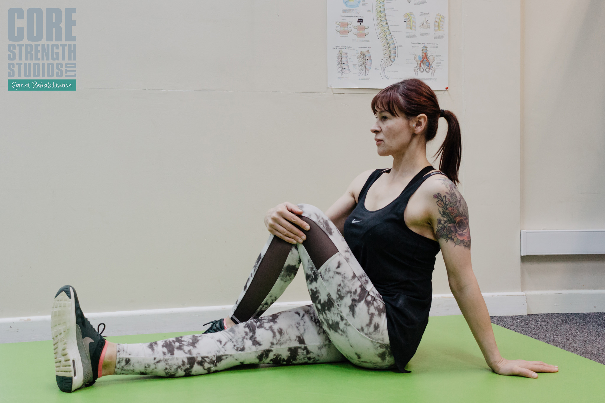 Sit tall with one leg outstretched. Bend the other and cross it over the other leg, keeping your foot on the floor. Use your arm to gently pull the bent keg into your body until you feel the stretch in your buttock.
