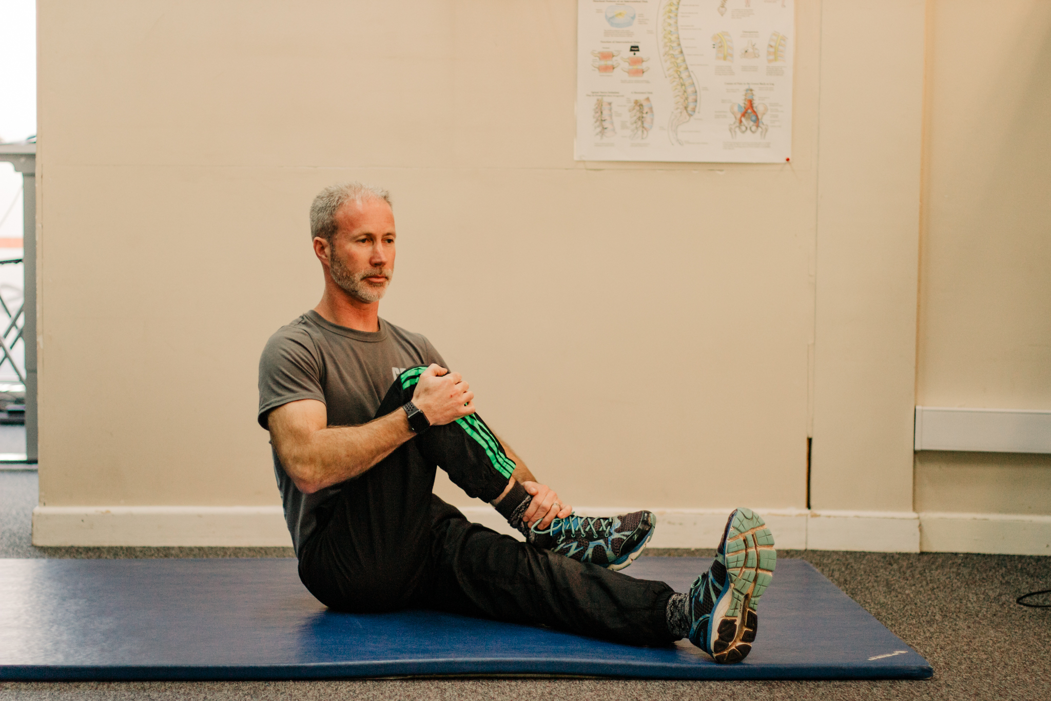 Glute Stretch   Sit with your back straight and cross one leg over the other. Use your arms to pull your knee up towards your chest and your other hand to angle your leg until you feel the stretch in your buttock.