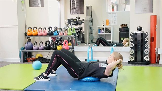 CORE STABILITY . Here's a really simple exercise to activate your core muscles. Place a stability disc (or cushion) in your lower back, engage your core and raise your shoulders.  Hold for 30-secs or as long as you can comfortably and feel your muscles wake up! . .