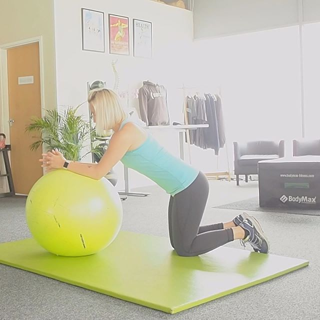 CORE .. Try this exercise on the ball for a great core exercise.  Slowly roll the ball out with your forearms, keeping your core engaged and back straight. .. #corestrength #corestrengthstudios #coretraining #backpain #rehabilitation #backrehab #sportstherapy #fitness