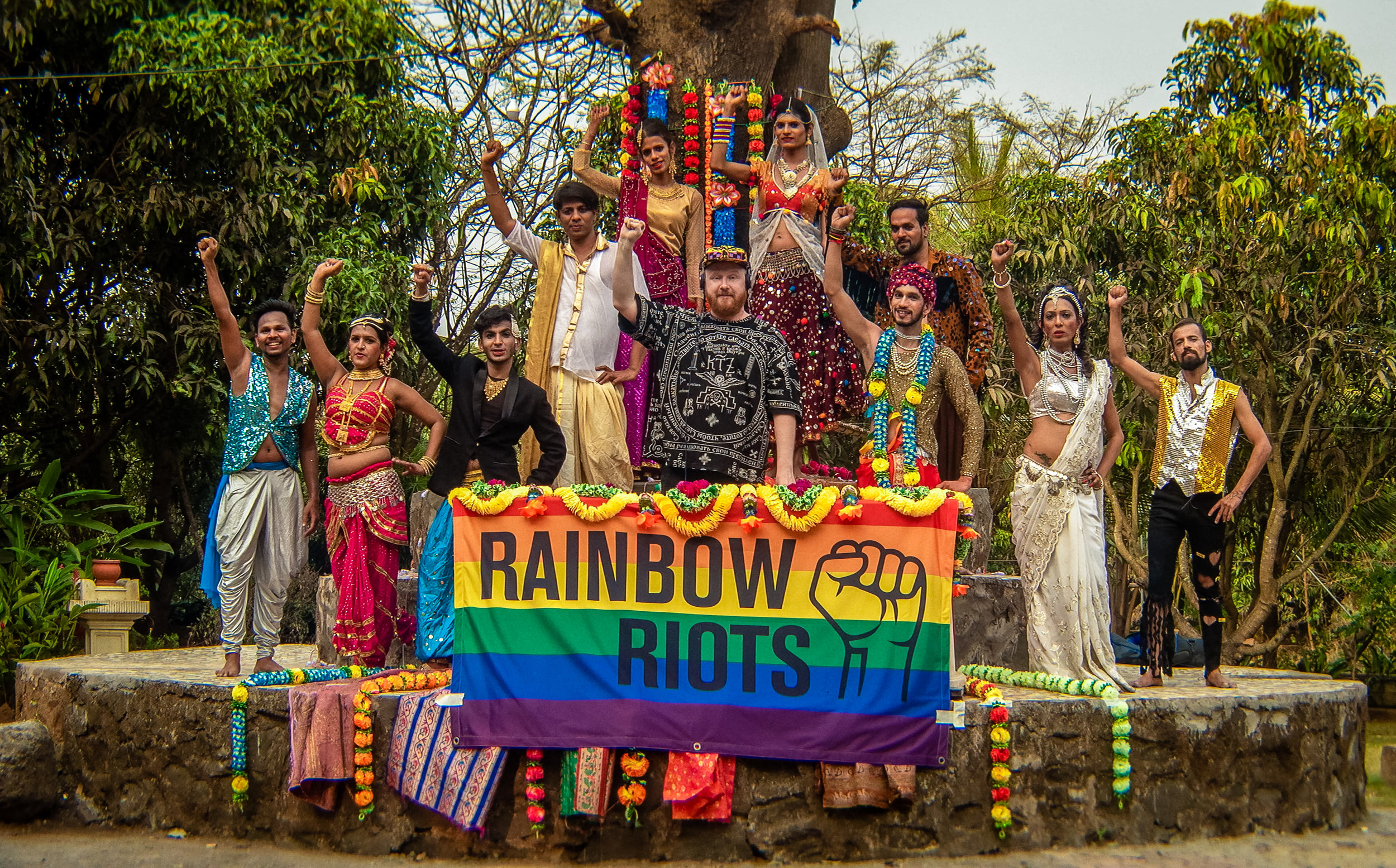 Swedish artist and activist Petter Wallenberg and India's first transgender dance group Dancing Queens, in Mumbai, India. -Photo by Johannes Helje .jpg