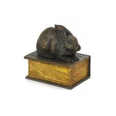 CASBO-RAB-BRZ  Met dit schattige konijntje op een boek heeft u een mooie herinnering aan uw geliefde huisdier.  Dit konijntje is gegoten uit kunsthars en afgemaakt met een bronzen finish.  CASBO-RAB-BRZ € 30,00 / 370 CC